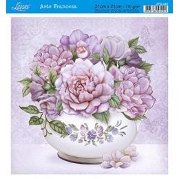 AFQ340 - Buquê de Flores Lilases no Vaso