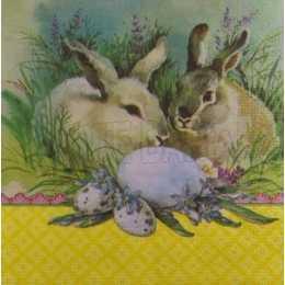 Pascoa - Casal de Coelhos com Ovos e Barrado Amarelo (447)