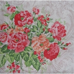 Buque de Flores Vermelhas/Rosa com Folhas co Fundo Camurça com Arabescos (390)