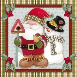 Natal - LAQN09 - Papai Noel com Boneco de Neve
