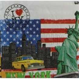 New York City - Prédios, Táxi e Estátua da Liberdade