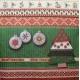 Enfeites de Natal no Fundo Barrado Verde, Vermelho e Creme (871)