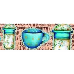 LB708 - Xícaras e Garrafas Azuis - Cappuccino