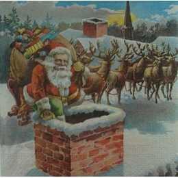 Papai Noel na Chamine no Fundo Azul e Renas (756)