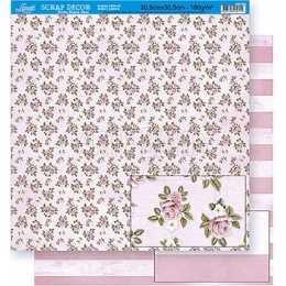 Folha para Scrapbook Dupla Face - SD381 - Flores Pequenas no Fundo Rosa
