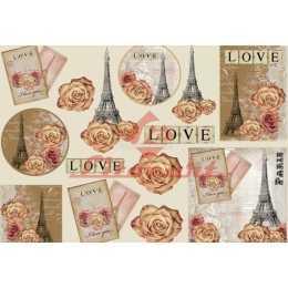 Papel para Decoupage LD772 - Torre Eiffel Rosas e Love