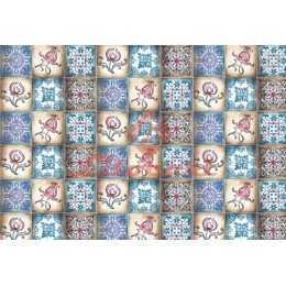 Papel para Decoupage LD766 - Azulejo ,Flores e Arabescos