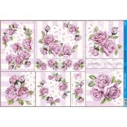 Papel para Decoupage PD164 - Rosas na Cor Rosa