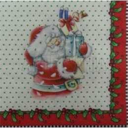 Papai Noel com Barrados e Fundo Branco com Bolinhas Verdes (117)