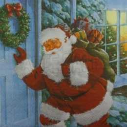 Papai Noel com Saco de Presentes Batendo na Porta (02)