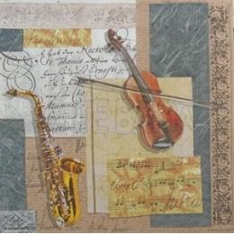 Violino, Saxofone e Partituras Musicais (737)