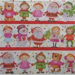 Faixas Natalinas - Crianças, Papai Noel e Boneco de Neve (529)
