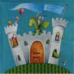 Guardanapo Castelo com Dragão e Príncipes  Fundo Azul (431)
