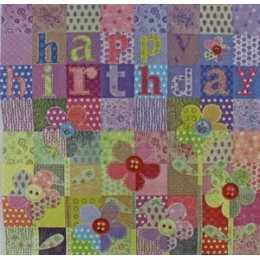 Patch Happy Birthday com Flores Coloridas (152)