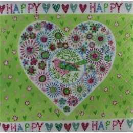 Coração Estilizado com Barrado e Fundo Verde - Happy (180)