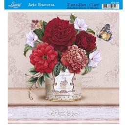 Papel para Arte Francesa 21x21cm - AFQ348-Vaso com Flores Vermelhas