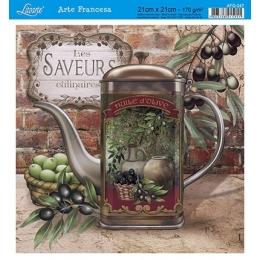 Papel para Arte Francesa 21x21cm - AFQ347-Huile D'Olive