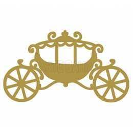 Aplique em Papel e MDF - APM8 - 516 - Carruagem Dourada