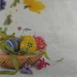 Guardanapo Páscoa - Ovos Coloridos na Cesta com Laço Fundo Branco (436)