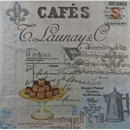 Cafés - Chocolates, Bule, Notas Musicais e Selo no Fundo Azul/Cinza (503)