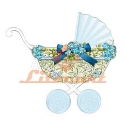 Aplique em Papel e MDF - LMAPC358 - Carrinho de Bebê Azul