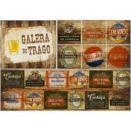 Papel para Decoupage PD064 - Rótulos de Cerveja - Galera do Trago