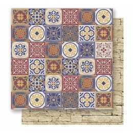 Folha para Scrapbook Dupla Face - SD524 - Azulejos e Pedras