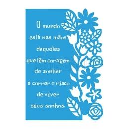 Stencil de Acetato Litoarte 20,6x29,7cm -STA3 - 023 - Pensamento e Flores