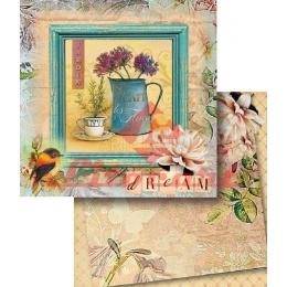 Folha para Scrapbook Dupla Face - LSCD365 - Xícara e Bule com Flores - Jardin