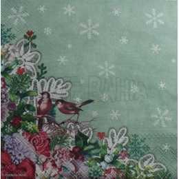 Linho Verde com Flocos e Neve e Barrado com Pássaros, Flores, Rendas e Laços (891)