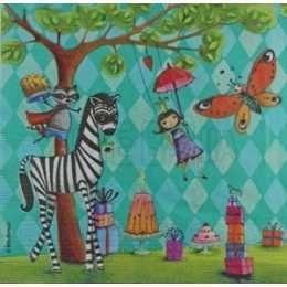 Festa na Floresta - Crianças, Bichos e Presentes no Fundo Verde  (926)