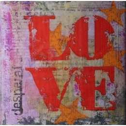Guardanapo Love Vermelho no Fundo Manchado com Estrelas (949)