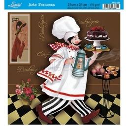 Papel para Arte Francesa 21x21cm - AFQ384-Cozinheiro