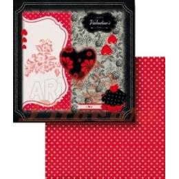 Folha para Scrapbook Dupla Face - LSCD388 - Coração em Preto / Vermelho