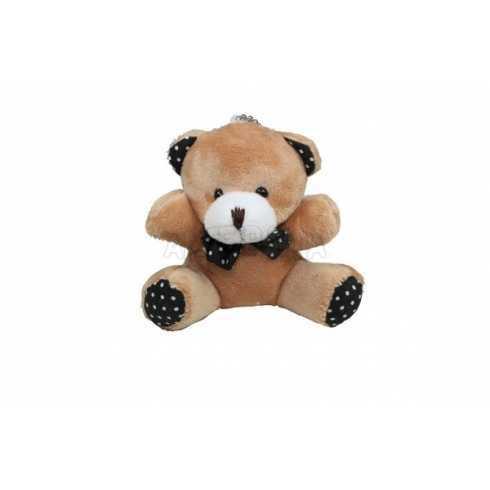 Urso de Pelúcia -10cm - Camurça - Sentado Pata de Bolinhas
