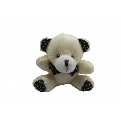 Urso de Pelúcia -10cm - Marfim - Sentado Pata de Bolinhas