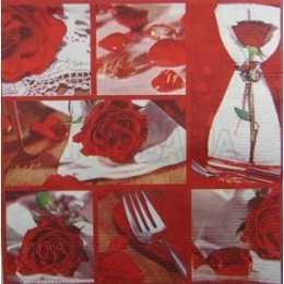 Quadro com Garfo, Guardanapo e Rosas Vermelhas (165)