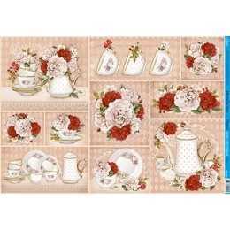 PD031 - Bule e Xícaras com Flores Brancas e Vermelhas