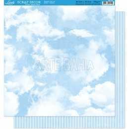 Folha para Scrapbook Dupla Face - SD011 - Nuvens e Listras em Azul e Branco