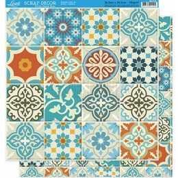 Folha para Scrapbook Dupla Face - SD028 - Azulejos