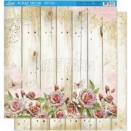 Folha para Scrapbook Dupla Face - SD093 - Flores e Borboletas no Fundo Amadeirado