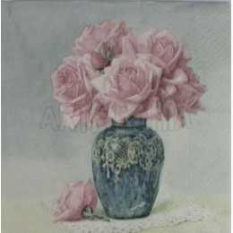 Guardanapo Flores Rosas Cor de Rosa no Vaso Cinza F1037