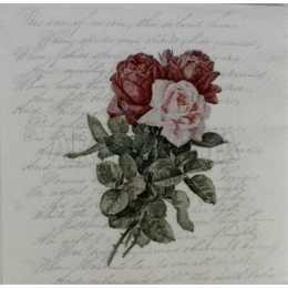 Guardanapo Buquê de Rosas no Fundo Branco com Escritos F1038