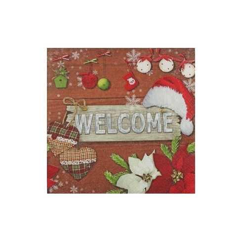 Placa Welcome com Enfeites de Natal (271)