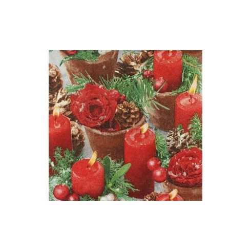 Velas Vermelhas e Arranjos com Pinhos Natalinos (266)