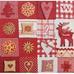 Enfeites de Natal em Quadros Vermelho e Branco