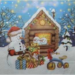 Guardanapo Bonecos de Neve na Casinha e Presentes de Natal (536)
