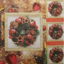 Guardanapo Guirlandas em Quadros - Merry Christmas (862)