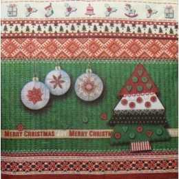 Guardanapo Enfeites de Natal no Fundo Barrado Verde, Vermelho e Creme (871)