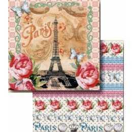 Folha para Scrapbook Dupla Face - LSCD400 - Paris / Barras de Flores